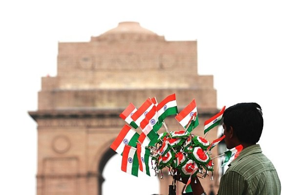 child at india gate with flags