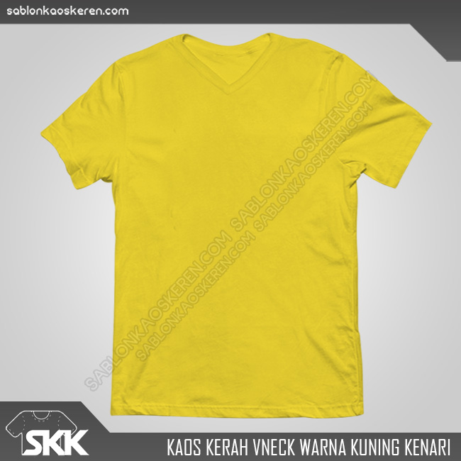 Kaos Polos Kerah V-Neck Kuning Kenari