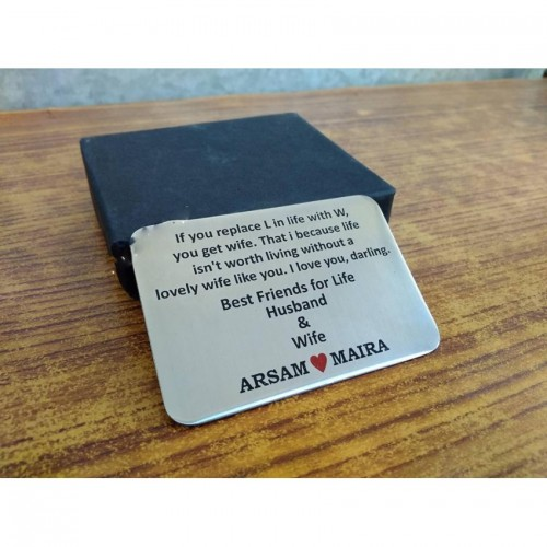 Wife Metal wallet Quote Card - Customized