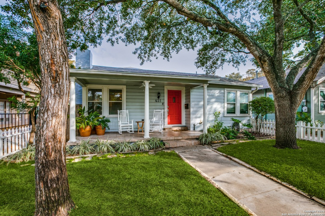 Welcome to 421 Argo Ave! This charming 1941 home is located in The Cottage district of Alamo Heights and exudes pride of ownership. The home is adorned by a canopy of trees, adorable picket fence and well manicured lawn that welcomes you to cozy front porch. An open~versatile floor plan featuring a large~warm family room with fireplace greets you as you enter...the home also features a spacious dining room, bright~open kitchen, owner's retreat on the first floor includes a recent bath remodel with separate vanities and a beautiful walk-in shower. The first floor also has a large secondary bedroom with bath while upstairs has two additional bedrooms and a loft. The backyard is secluded and perfect for all occasions! Quick access to Dining ~ Shopping ~ Entertainment. Please take the virtual tour that features an interactive floor plan and immerse yourself. WELCOME HOME!