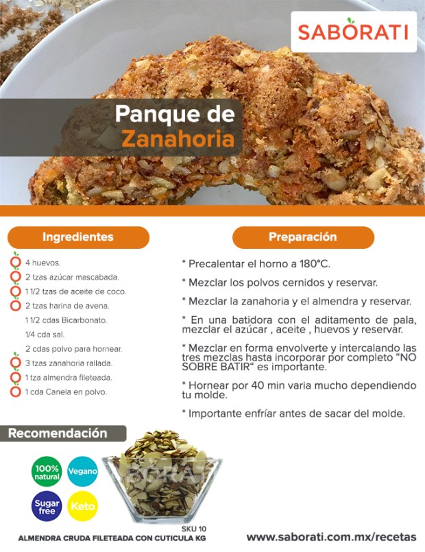 Receta de Panqué de Zanahoria