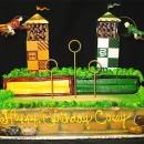 Pastel con forma de campo de Quidditch