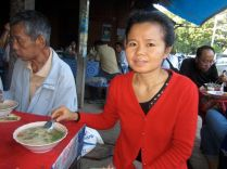 Out for breakfast with Jen. Jen is one of those rare financially independent, never married older women - rare in Laos.