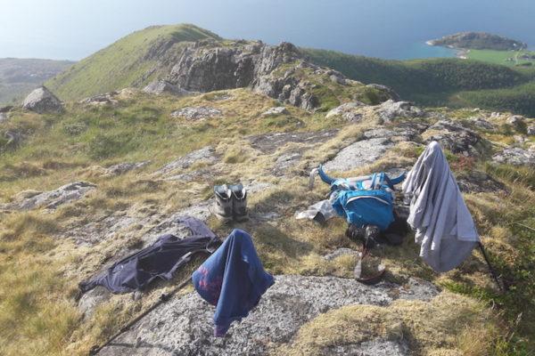 Heutiges Sujet ist unser Innehalte-Plätzchen auf dem Åmnesfjellet (600 M.ü.M). Von der wunderschönen Aussicht bis zu den Lofoten ist aber eher weniger zu sehen auf dem Bild, sondern eher unser Veeusch, die von der 'Hitze' völlig verschwitzten Kleider und Schuhe zu trocknen.