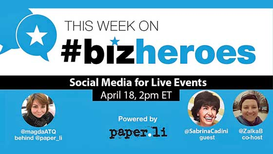 sabrina cadini on #bizheroes twitter chat: how to insorporate social media into live events and weddings