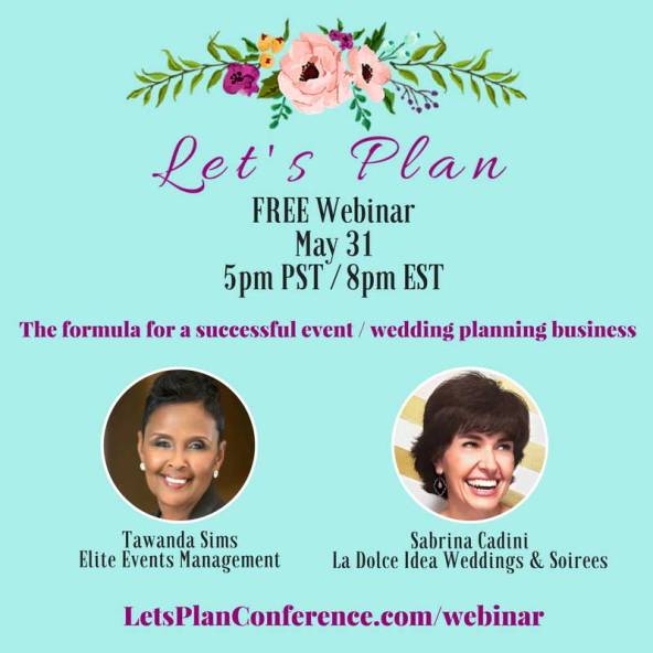 sabrina cadini speaking on free webinar for let's plan conference on vendor relationships and wedding questions, next wednesday may 31