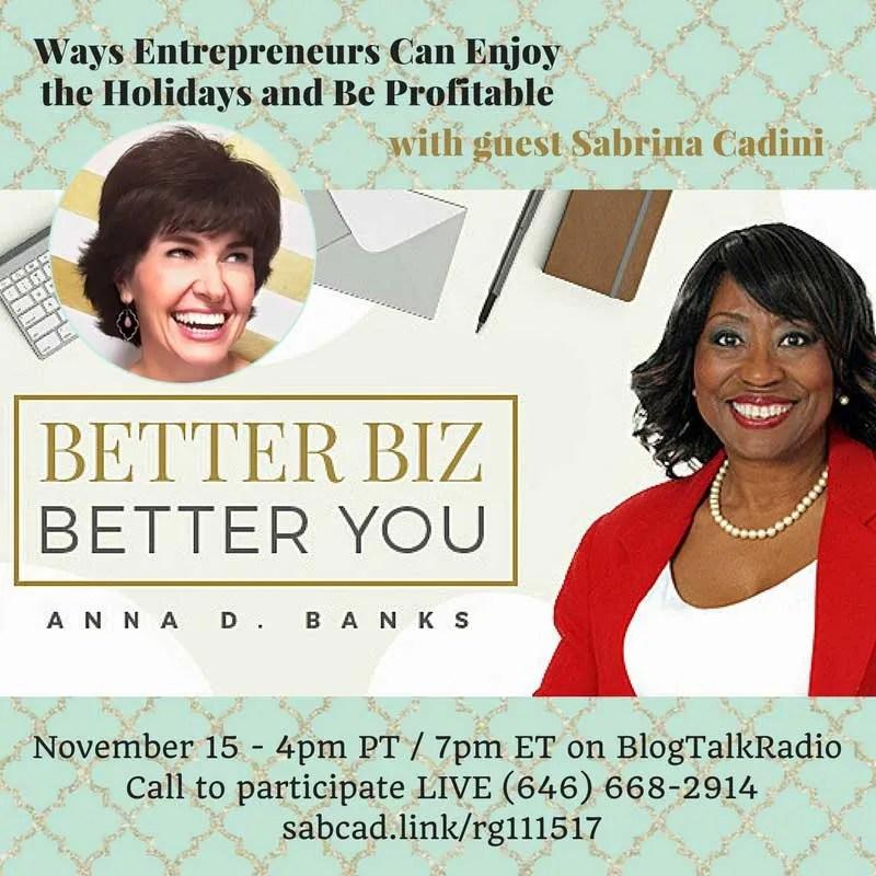 sabrina cadini radio guest show speaker holidays for entrepreneurs profitable business coach