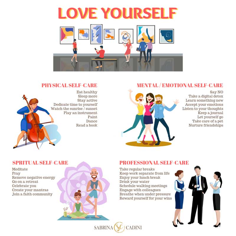 sabrina cadini love your brain self-care tips love yourself life coaching life-work balance
