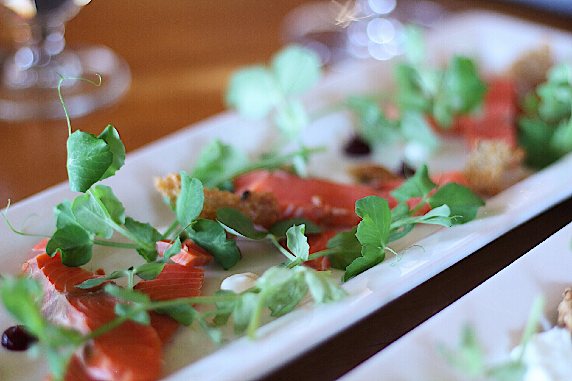 Smoked Salmon And Pea Shoots at the Sooke Harbour House