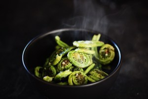 Sauteed Fiddleheads With Garlic, Ginger, Chili and Sesame
