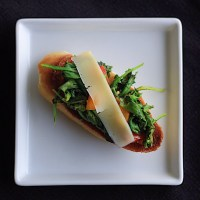 Wilted Arugula Crostini