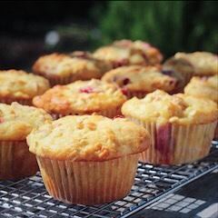Strawberry Rhubarb Oatmeal Muffins Cooling Outside