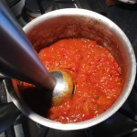 Puree Tomato Roasted Pepper Mixture into Thick Sauce Consistency.