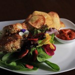 "Dungeness Crab Cakes with Lemon Balm Aioli, Chips and Rustic Roasted Pepper Tomato ""Ketchup"""