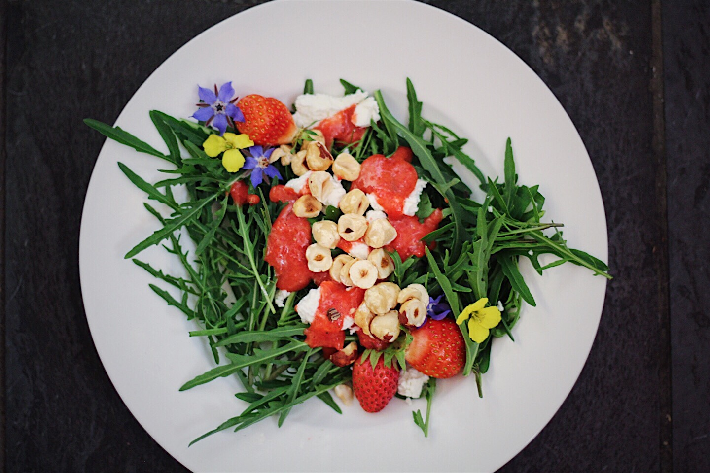 Bright, Fresh Arugula Salad with Strawberry Vinaigrette
