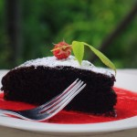 Easy Chocolate Cake with Raspberry Coulis
