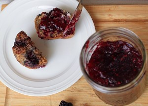 Blackberry Apple Jam on Healthy Blackberry Muffins