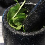 Making Sorrel Pesto With A Mortar And Pestle