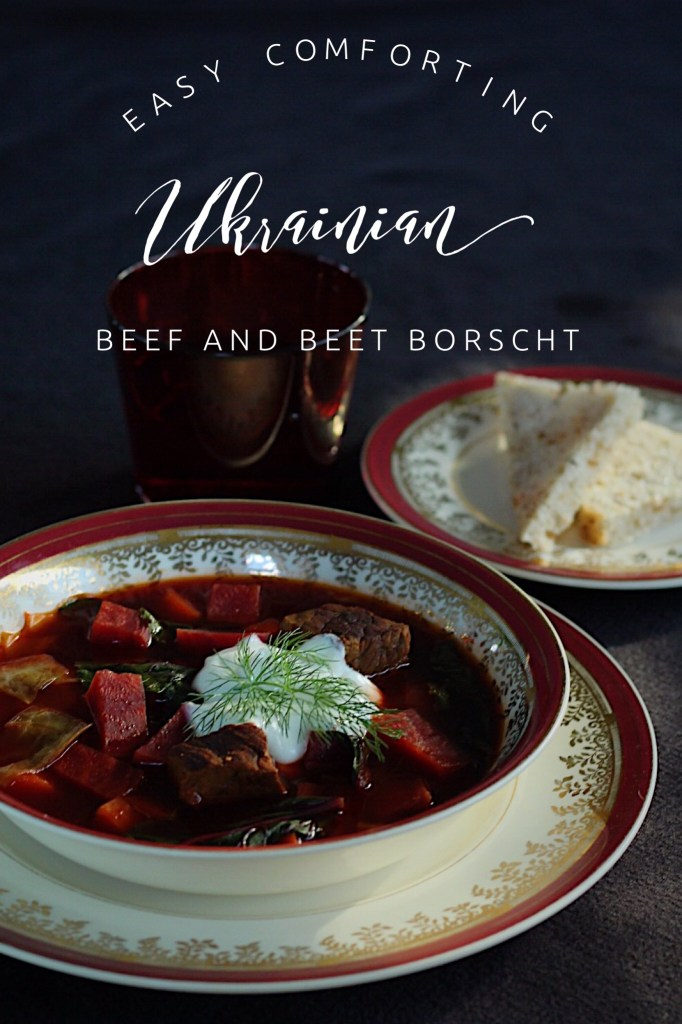 Ukrainian Borscht Soup With Sour Cream And Dill