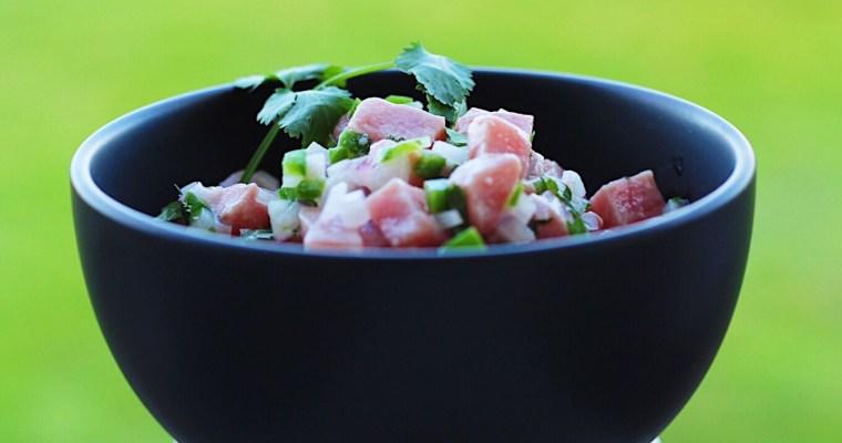 Albacore Tuna Ceviche With A Side Of Guacamole