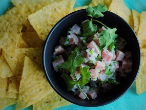 Fresh Tuna Ceviche and tortilla