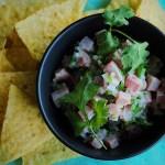 Fresh Tuna Ceviche and tortilla