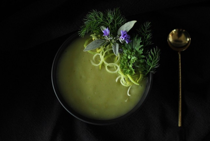 Potage Parmentier or Potato Leek Soup. Easy and vegetarian.