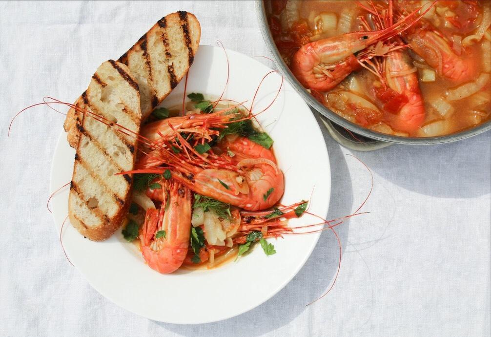 Spot Prawns (Shrimp) In Tomato Fennel And Orange Broth