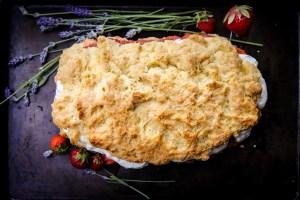 Luscious Strawberry Rhubarb Cake with Whipped Cream