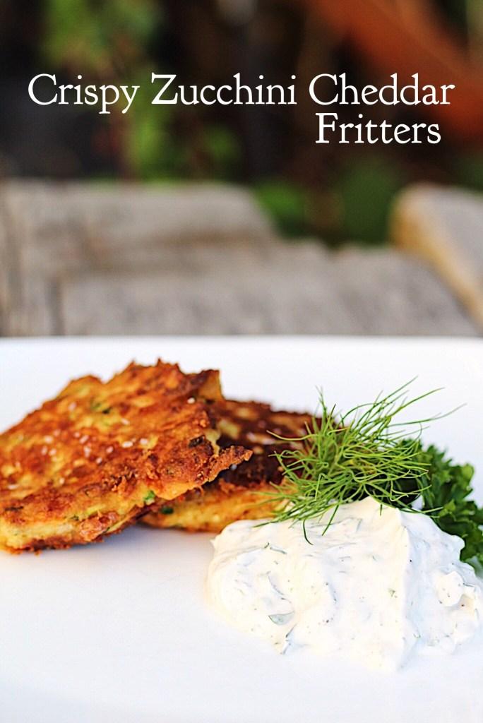 Crispy Zucchini Cheddar Fritters