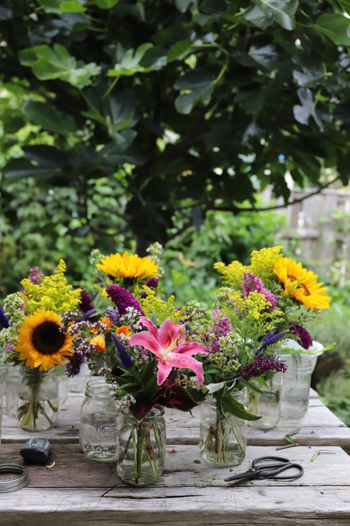 Flower arranging in my kitchen garden