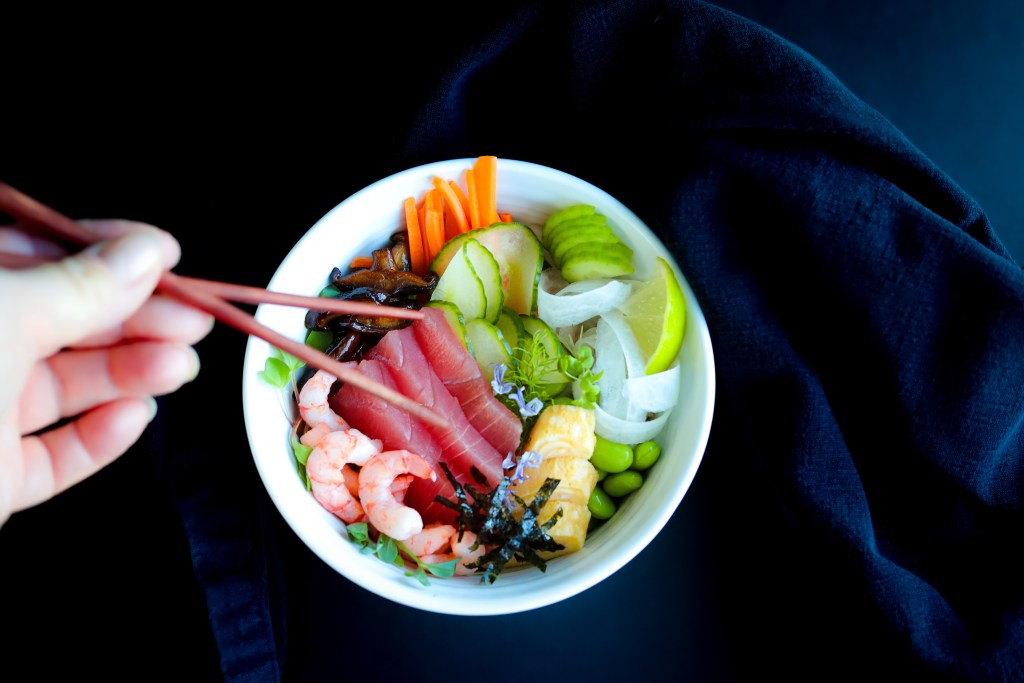 Healthy Minimal Recipe For Chirashi Sushi With Fish And Rice
