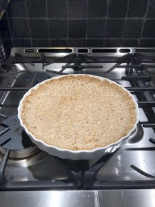 Lightly brown baked hazelnut tart crust