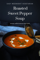 Easy Fast Vegetarian Roasted Pepper Soup with Sardo Fire Roasted Peppers
