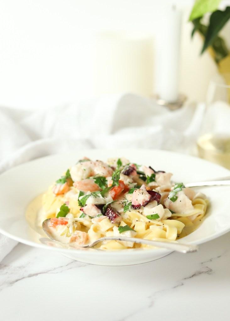 Seafood Fettuccini Alfredo From Scratch
