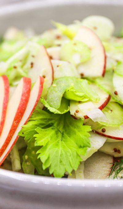Crisp Apple Fennel Salad with Grainy Mustard Dressing