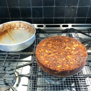 Apple Oatmeal cake fresh out of the oven