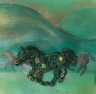 """Running Through The Mist #2 12""""x12"""" Quilled Paper and Paint on Wood"""