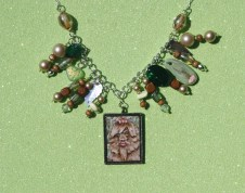 Lady Foot Necklace; hand-painted cameo, beads, and hand-sculpted/painted paperclay charms, 2016