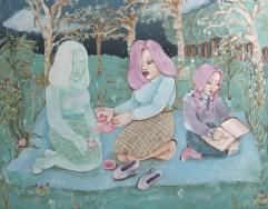 """""""Serving Tea To My Double""""; 11x14"""", acrylic on hardboard, 2016"""
