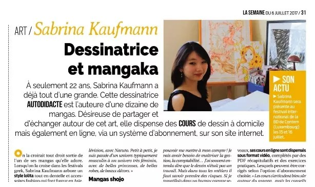 Dessinatrice et mangaka ​La Semaine 06/07/17 - Interview Tatiana Salvan