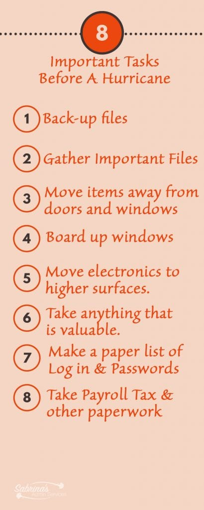 8 important tasks before a hurricane