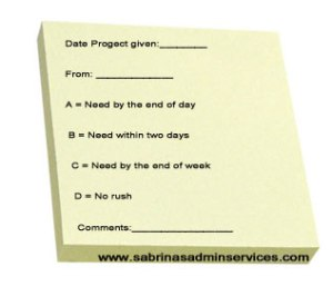 customized priority sticky note