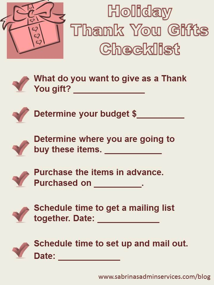 Holiday thank you gifts checklist