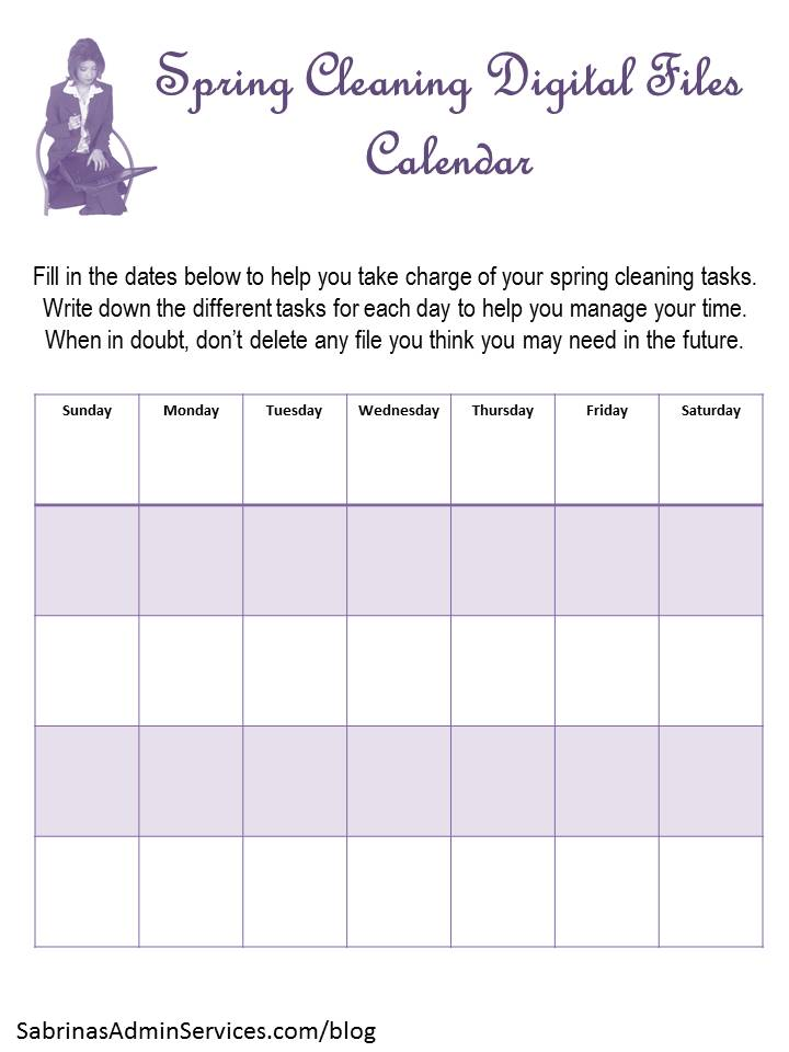 Spring Cleaning digital files calendar | Sabrina's Admin Services