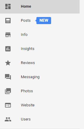 posts menu in Google My Business