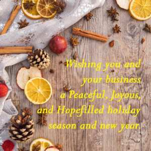 Wishing you and your business a Peaceful, Joyous, and Hopefilled holiday season and new year. - 11 Free Seasons Greetings Images to Share With Clients