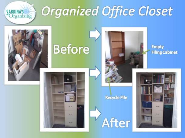 before and after, office, closet, organized office closet