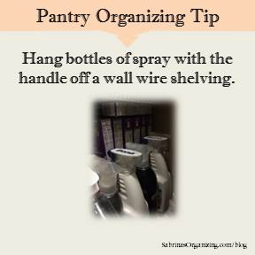 Hang bottles of spray with the handle off a wall wire shelving.