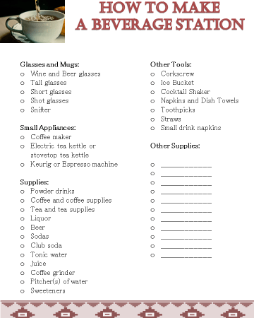 How to Make a Beverage Station Checklist